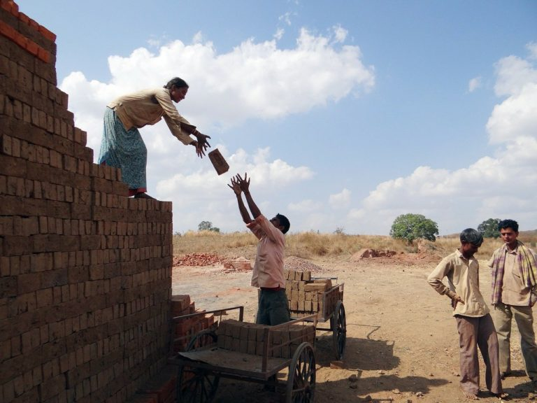 workers, country-side, brick-laying